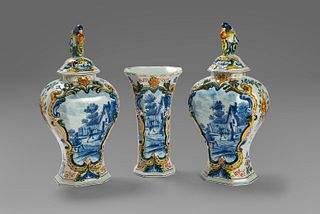 Delft ceramic triptych, late 18th - early 19th century