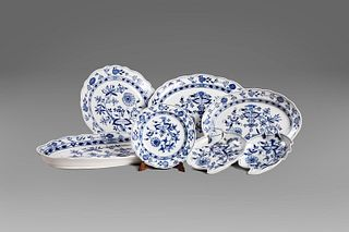 Set of six in Meissen porcelain, consisting of 58 pieces, late 19th-early 20th century