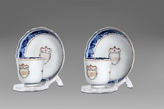 Pair of porcelain cups with saucers
