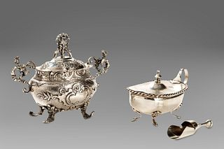 Two silver sugar bowls, early 20th century