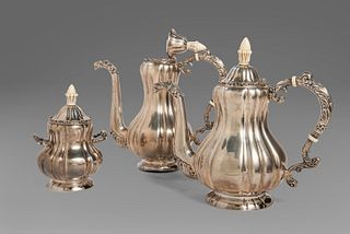 Silver service consisting of coffee pot, teapot and sugar bowl, 20th century