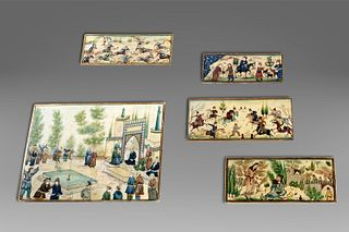 Five Indo-Persian ivory plaques, late 19th - early 20th century