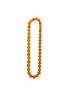 Amber necklace with sloping spheres