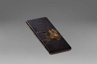 Iron cigarette case with silver and gold decorations, Japan early 20th century
