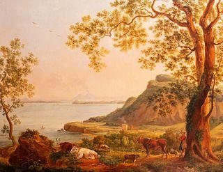 Scuola di Posillipo - The Gulf of Naples with Vesuvius seen from Ischia