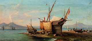 Consalvo Carelli (Napoli 1818-1910)  - Boats in shed and fishermen on the shore of the Gulf of Sorrento