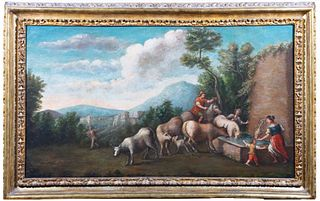 Scuola dell'Italia meridionale, secolo XVII - Two landscapes with shepherds and herds