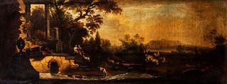 Maniera di Marco Ricci - River landscape with stone bridge, ruins and gallant couple