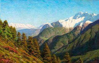 Scuola italiana, secolo XX - Mountain landscape