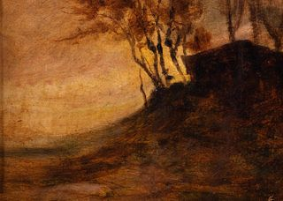 Scuola italiana, secolo XX - Landscape with cottages and trees