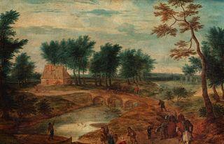 Seguace di Jan Brueghel - River landscape with bystanders
