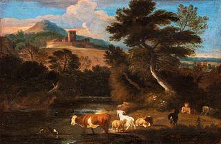 Dirck  Van Bergen (Harleem  1649-1700)  - River landscape with shepherds and herds
