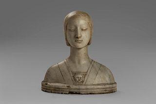 Imitatore di Francesco Laurana - Half-length portrait of a gentlewoman