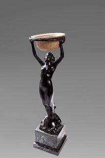 Karl Perl (Liezen 1876-1965)  - Bronze sculpture depicting a female figure