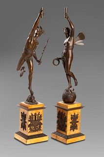 Two bronze sculptures depicting Victoria and Hermes, base in yellow Siena marble, France, mid-19th century