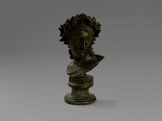 Giulio Monteverde (Bistagno 1837-Roma 1917)  - Bust of a woman crowned with laurel