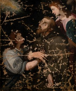 Scuola romana, secolo XVII - St. Francis comforted by the Angels