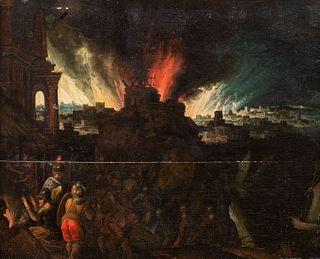 Scuola fiamminga, fine secolo XVI - inizi secolo XVII - The fire of Troy