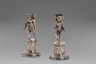 Two silver stick holders, Lombard - Veneto stamp, 19th century