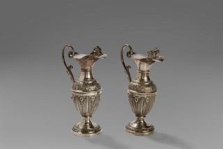 Two silver amphorae, Rome stamp, first half of the 19th century