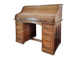 Office desk with roller shutter in oak wood, 20th century