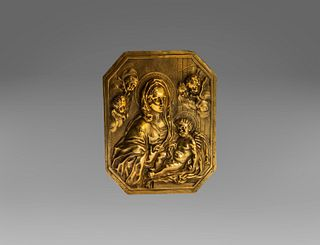 Gilded bronze plaque depicting Madonna with Child and Angels, Rome 17th century