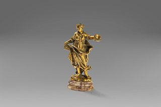Small sculpture in gilded bronze, with marble base, depicting an allegorical female figure, Florence 17th century