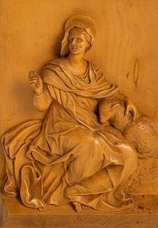 Lemon wood plaque depicting Saint Agnes, 17th century