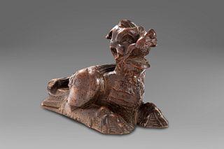 Scuola dell'Italia centrale, secolo XVI - Wooden sculpture depicting a fantastic animal