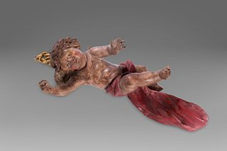Lot consisting of two sculptures: a presepe statuette and cherub in lacquered and painted wood, Naples late 18th century - early 19th century