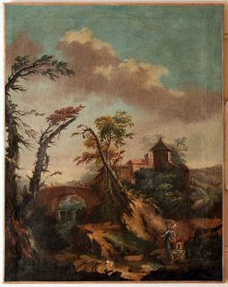 Scuola piemontese, secolo XVIII - River landscape with wayfarers