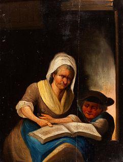 Scuola tedesca,secolo XVIII - Two scenes from family life