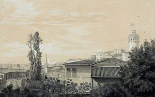 Jean-Baptiste Antoine  Guillemet (Chantilly 1843-Mareuil 1918)  - View of Istanbul