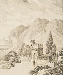 Scuola italiana del XIX secolo - Mountain landscape with castle