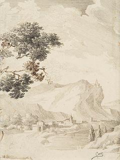Scuola italiana del XIX secolo - Mountain village by the lake