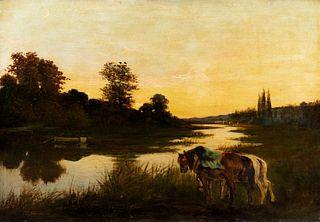 Scuola italiana fine XIX - inizi XX secolo - River landscape at sunset