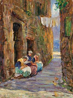 Scuola italiana - Women sewing in an alley