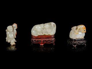Three Jade Carvings Length of longest 2 3/4 in., 7.6 cm.