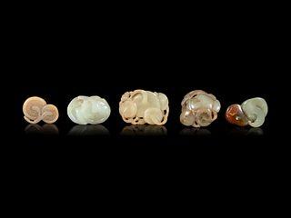 Five Jade Carvings of Mushrooms Length of longest 2 1/4 in., 5.7 cm.