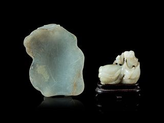 Two Carved Jade Articles Length of larger 3 1/2 in., 8.89 cm.