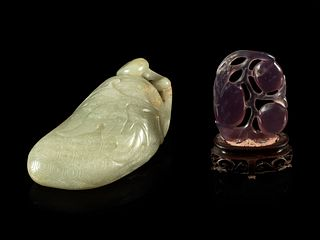 A Celadon Jade 'Lychee' Carving and An Amethyst 'Fruit' Pendant Length of larger 3 1/2 in., 9 cm