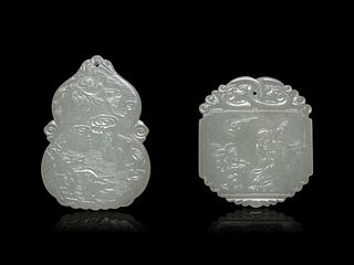 Two Pale Celadon Jade Plaques Length of larger 2 3/8 in., 6 cm.