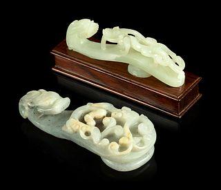 Two Jade 'Chilong' Belt Hooks Length of larger 4 1/8 in., 10.5 cm.