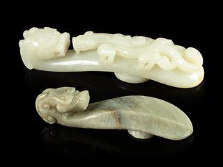 Two Jade 'Chilong' Belt Hooks Length of larger 5 3/8 in., 13.7 cm.