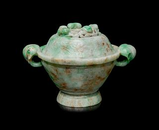 An Apple Green and Pale Celadon Jadeite Covered Bowl Height 5 x width 7 in., 12.7 x 17.8 cm