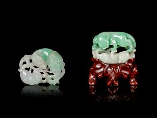 Two Apple Green and White Jadeite 'Double Badgers' Carvings Length of larger 1 5/8 in., 4.1 cm.