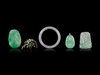 Five Jadeite Jewelry Length of largest pendant 2 3/8 in., 6 cm.