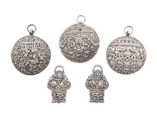 Five Silver Pendants Total weight 6 oz 7 dwt. Diameter of largest 3 1/2 in., 8.89 cm