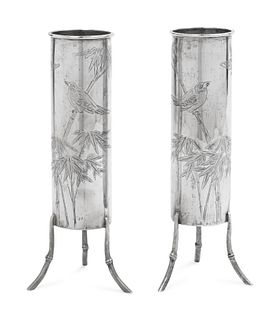 A Pair of Chinese Export Silver Tripod Vases Height 7 inch., 17.5 cm. Weight of each 3 ozt 16 dwt.