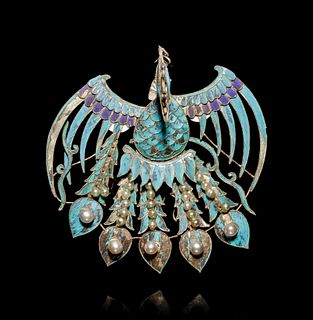 A Kingfisher Feather Phoenix-Form Headdress Length 4 in., 10.2 cm.
